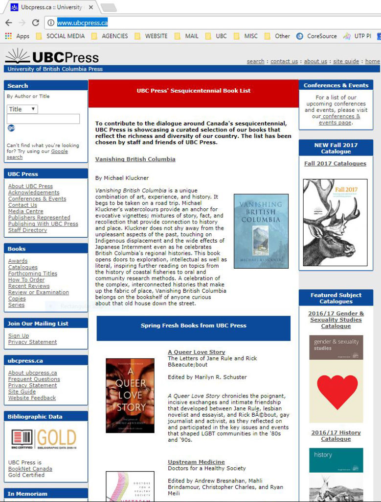 Screenshot of old UBC Press website